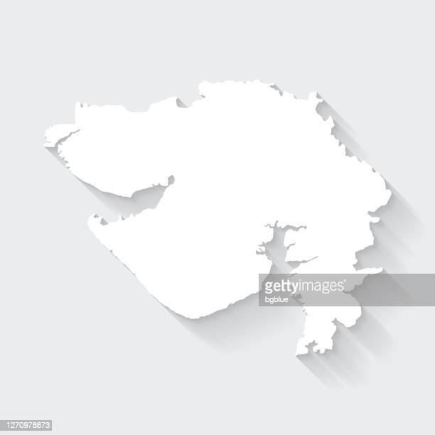 gujarat map with long shadow on blank background - flat design - gujarat stock illustrations