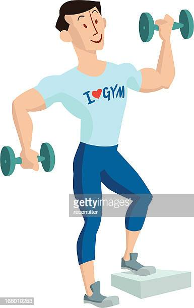 gum guy doing excercise - leisure facilities stock illustrations, clip art, cartoons, & icons
