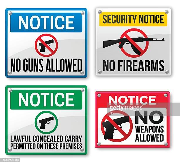 gun kontrolle und waffen beschilderung - hinweisschild stock-grafiken, -clipart, -cartoons und -symbole
