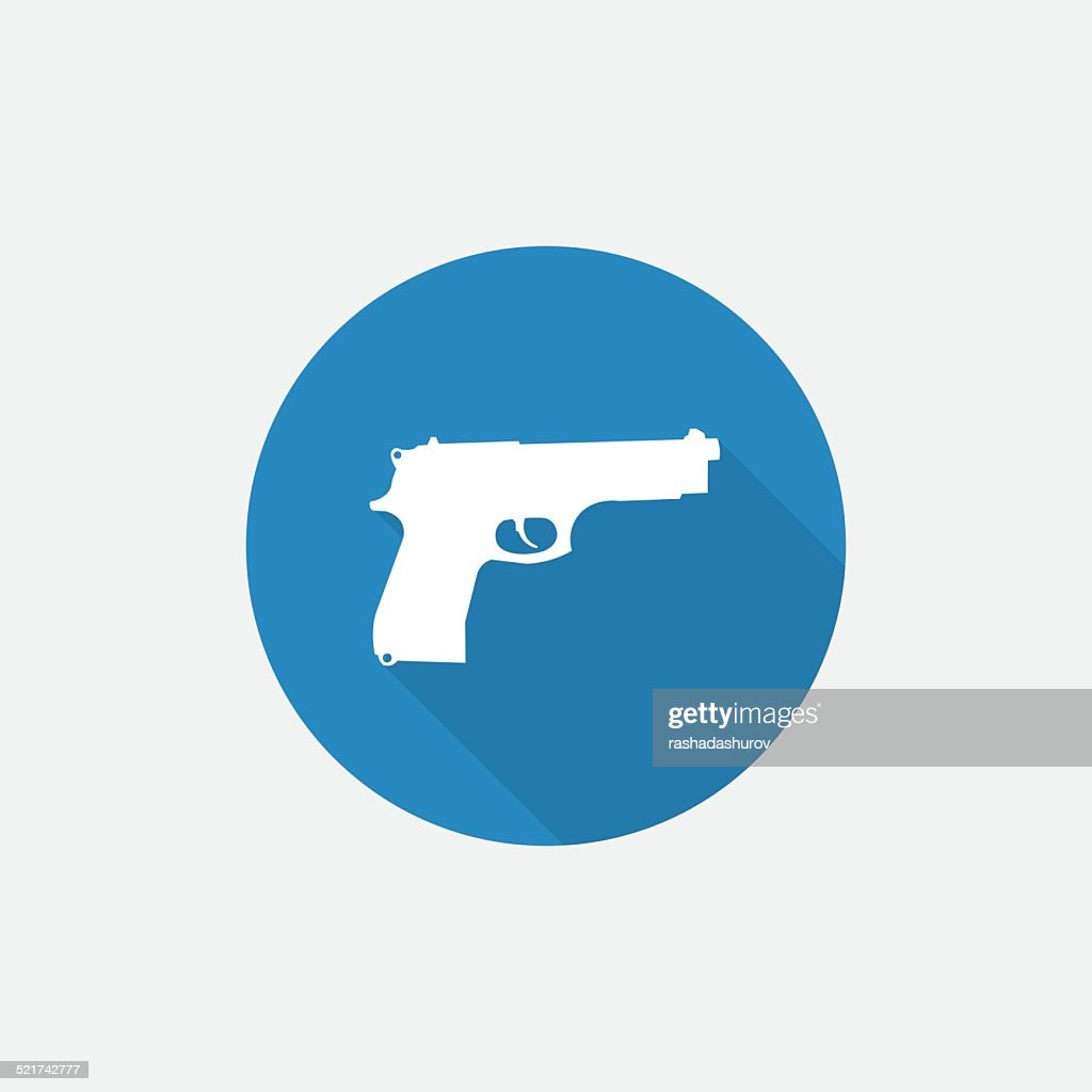 gun Flat Blue Simple Icon with long shadow