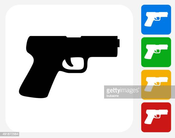 gun icon flat graphic design - handgun stock illustrations