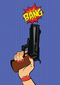 Gun in woman hand. Pop art stile. Vector illustration