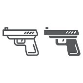 Gun line and glyph icon, weapon and revolver, pistol sign, vector graphics, a linear pattern on a white background.