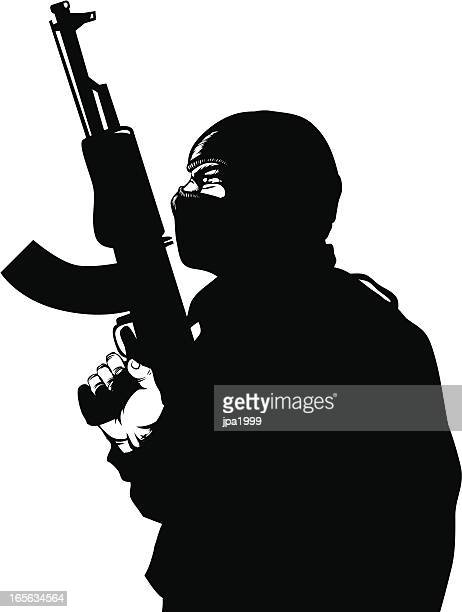 gun  man - special forces stock illustrations, clip art, cartoons, & icons