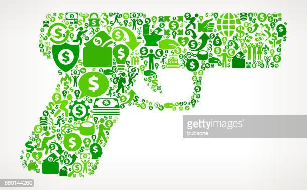 gun  money and finance green vector icon background - finance and economy stock illustrations, clip art, cartoons, & icons
