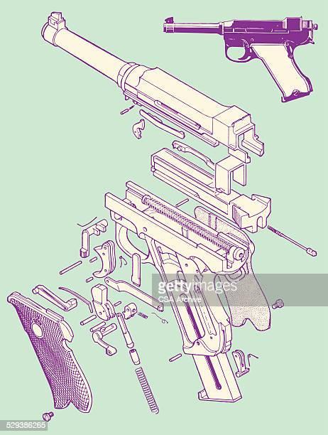 Gun Pieces Put Together to Make Handgun