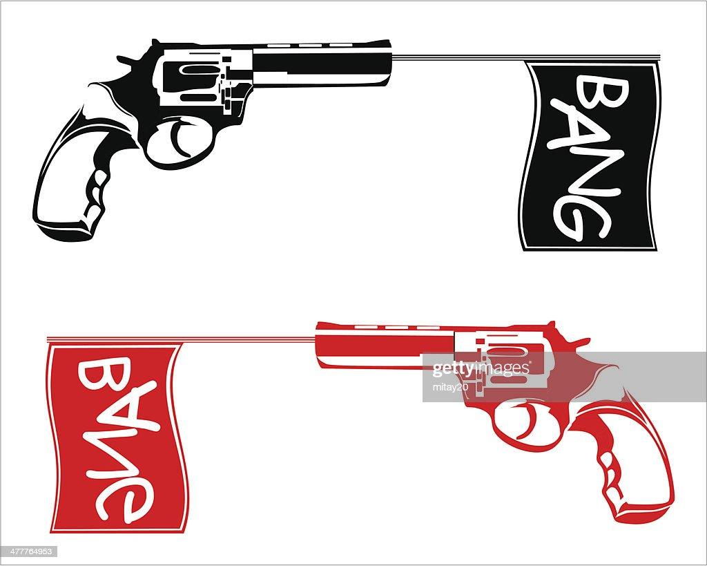 gun shoots a flag bang