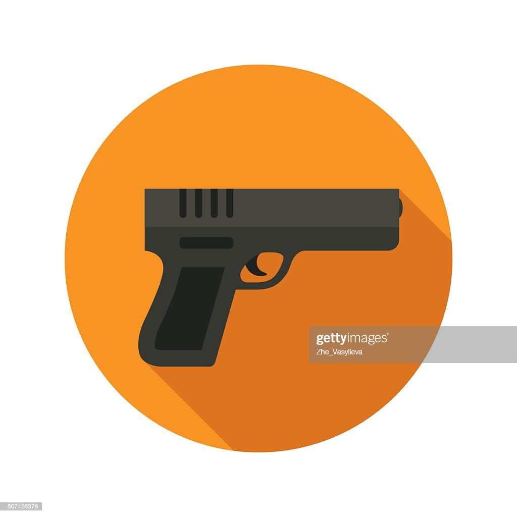 Gun vector flat style icon on round badge