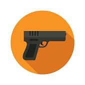 Gun vector flat style icon on round badge