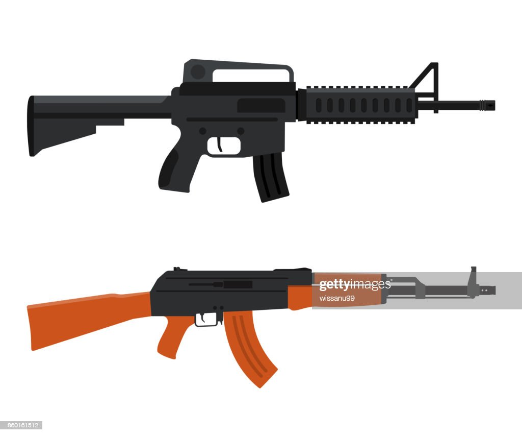 Gun Weapon. M16 amd AK47. Vector illustration
