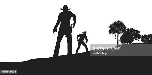gunfight, showdown, cowboy, conflict, outlaw, sheriff - confrontation stock illustrations