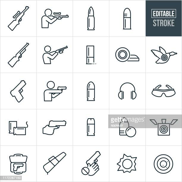 guns and bullets thin line icons - editable stroke - handgun stock illustrations