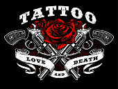 Guns and roses tattoo design.