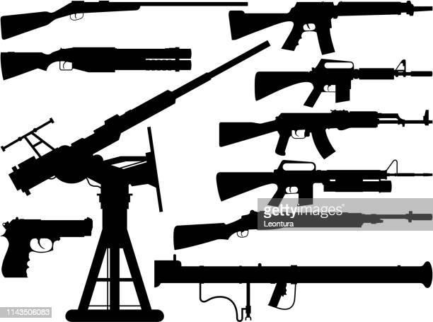 guns - machine gun stock illustrations, clip art, cartoons, & icons