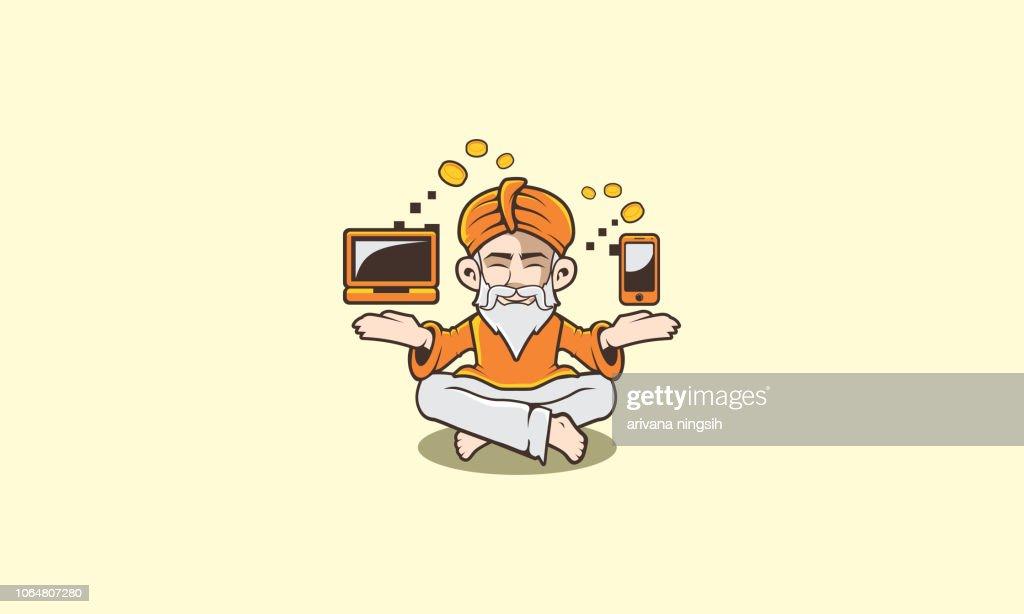 guru meditation gadget icon logo vector