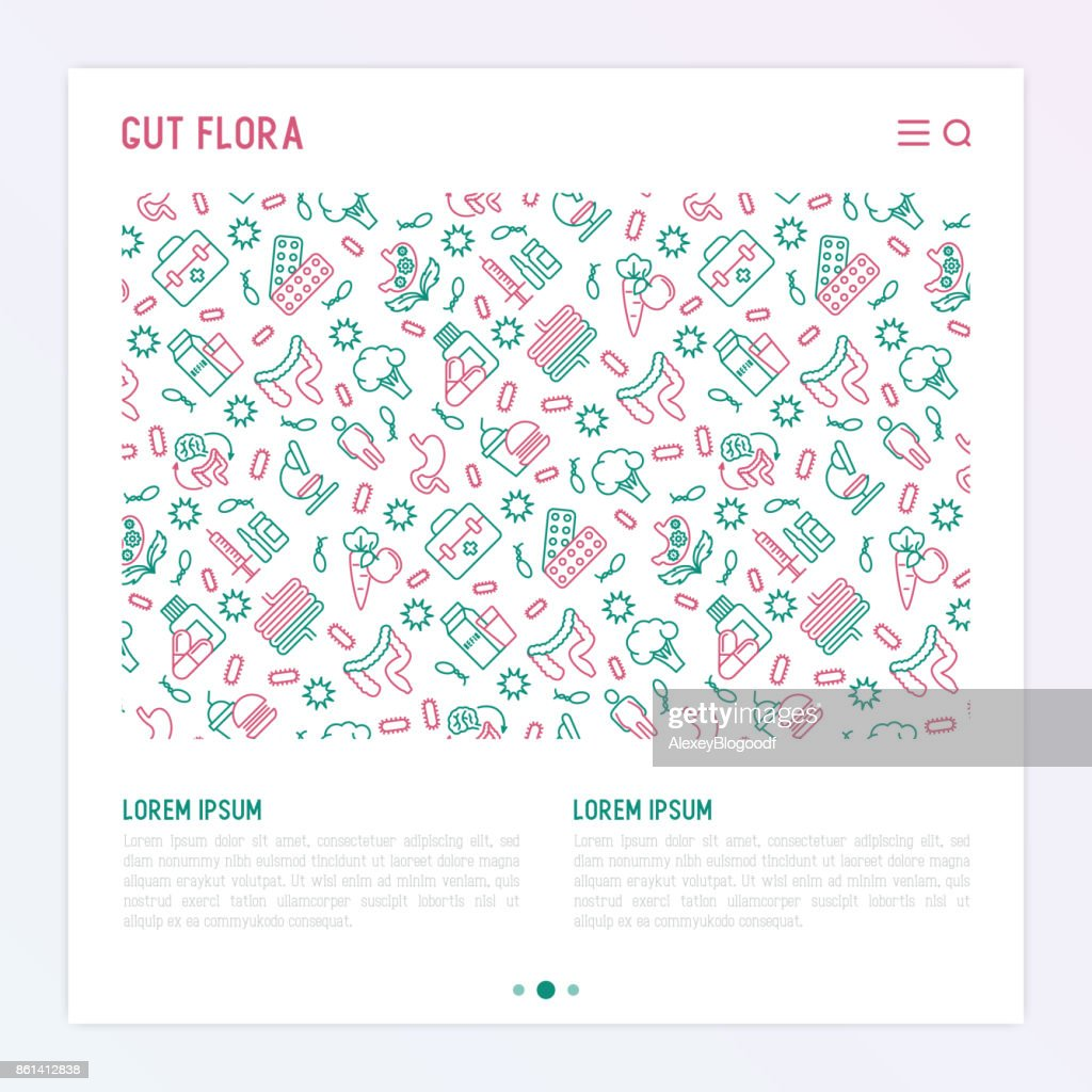 Gut flora concept with thin line icons: gut, bacteria, obesity, stomach, infection, depression, medicine. Vector illustration for background of medical survey or report.