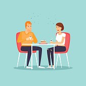 Guy and girl drink hot drinks. Couple having coffee. Flat design vector illustration.