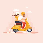 Guy and the girl are riding the scooter. Flat design vector illustration.