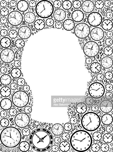 Guy Face on Time and Clock Vector Icon Pattern