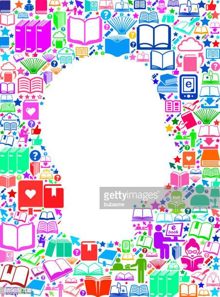 guy face reading books and education vector icons background - bookstand stock illustrations, clip art, cartoons, & icons