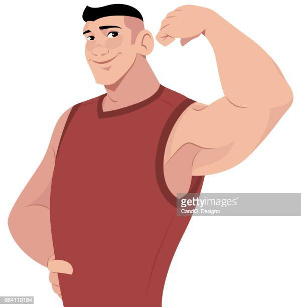 guy flexing an arm - waist up stock illustrations, clip art, cartoons, & icons