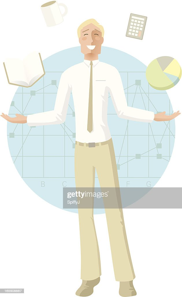 Guy juggling business objects
