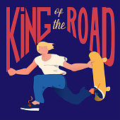 Guy on skateboard. The skateboarder does a trick in a jump. Poster for goods of skateboarders. Cool dude man with text 'King of the road'. Vector illustration.