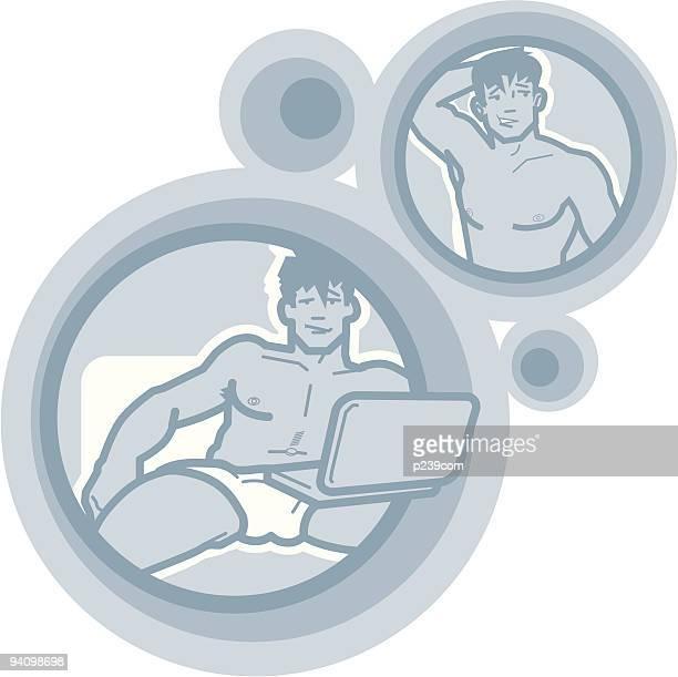 ilustrações, clipart, desenhos animados e ícones de guy navegar na web - www
