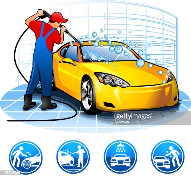 ilustrações, clipart, desenhos animados e ícones de sujeito lavando car marcas batalha - lava