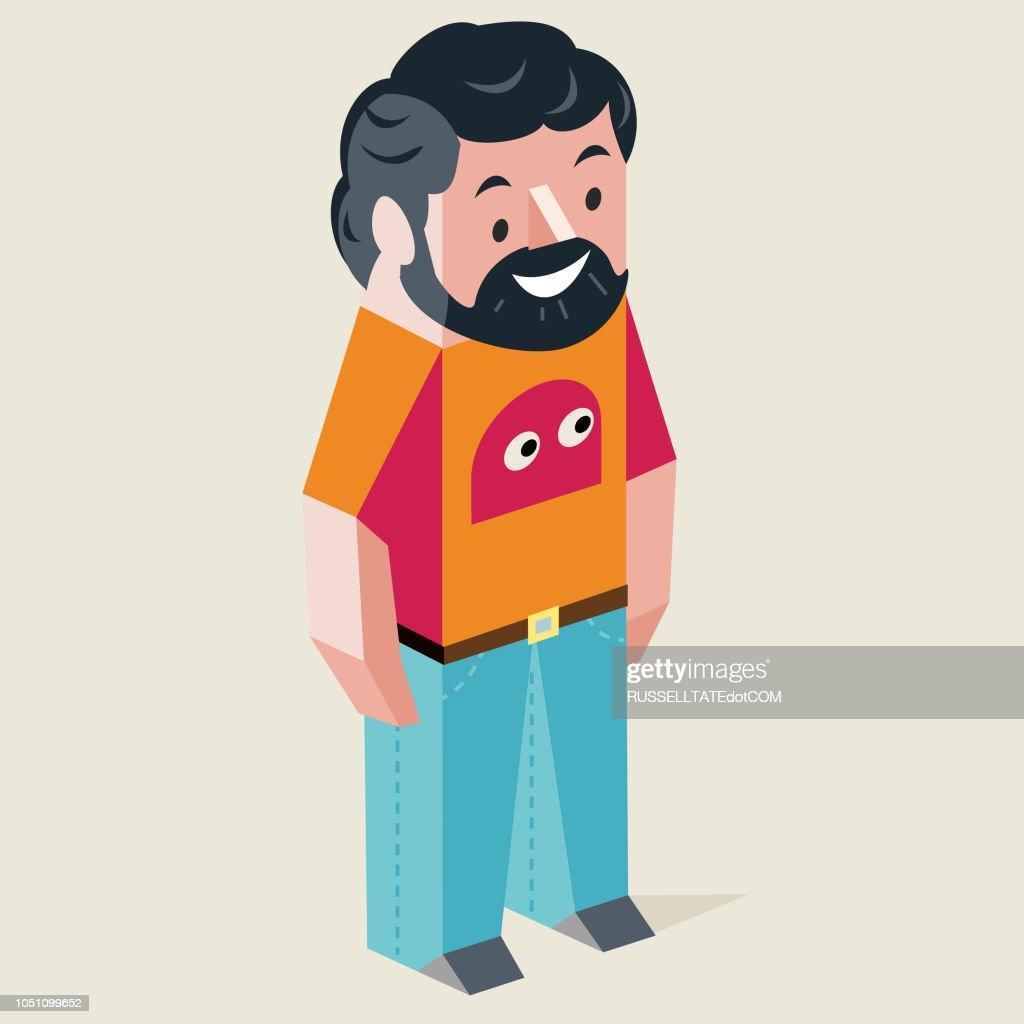 Guy wearing Kids T-shirt : stock illustration
