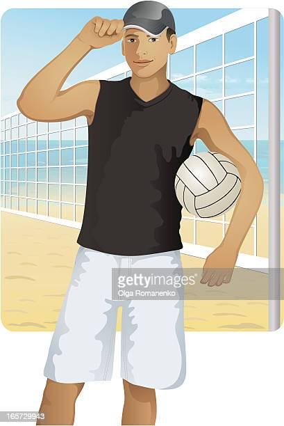 guy with ball - beach volleyball stock illustrations
