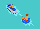 guys riding jetski and tube, beach summer activities graphic