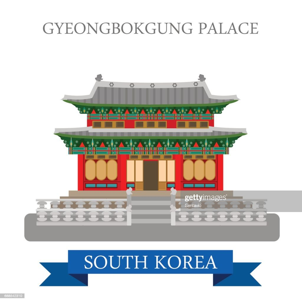 Gyeongbokgung Palace in Seoul South Korea. Flat cartoon style historic sight showplace attraction web site vector illustration. World countries cities vacation travel sightseeing Asia collection.
