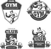 Gym and fitness vector emblems, labels, badges, logos