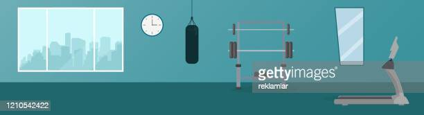 gym center, modern health club with exercising equipment - gym stock illustrations