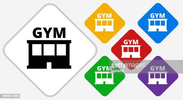 gym color diamond vector icon - leisure facilities stock illustrations, clip art, cartoons, & icons