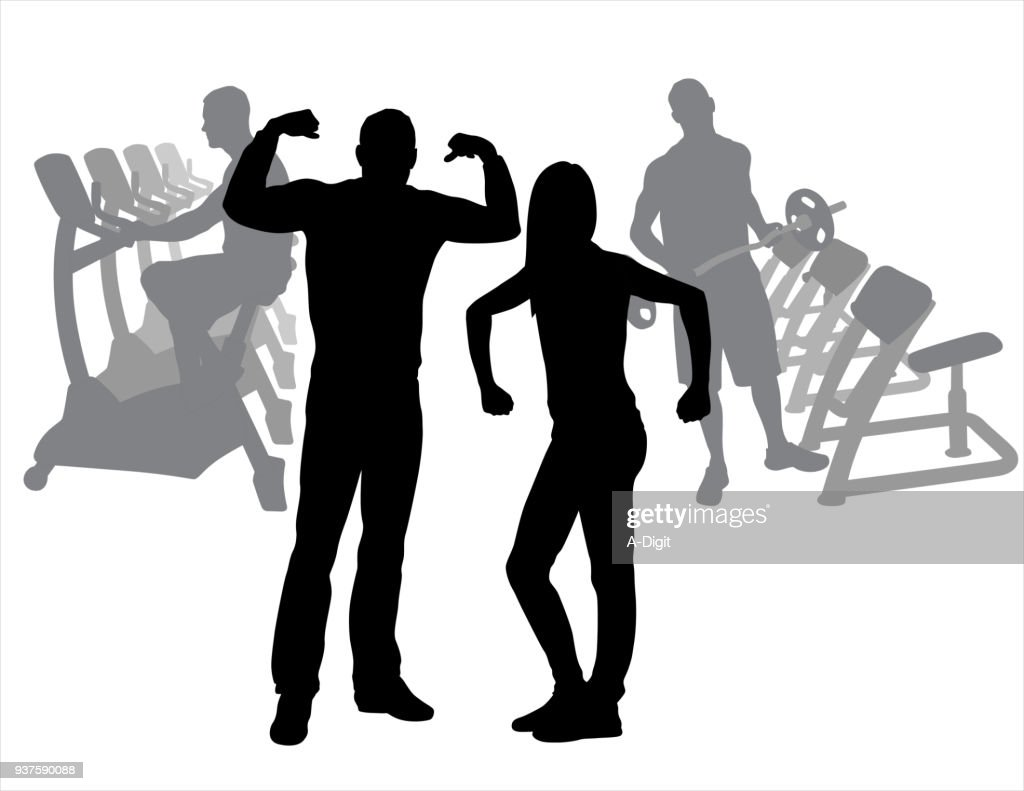 Gym Couple Acting Funny : stock illustration