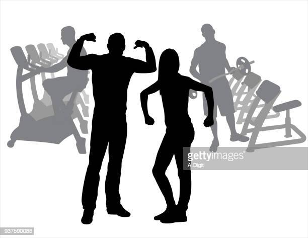 gym couple acting funny - cardiovascular exercise stock illustrations, clip art, cartoons, & icons