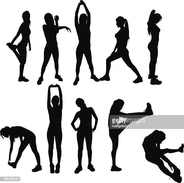 gym exercises silhouettes - stretching stock illustrations, clip art, cartoons, & icons