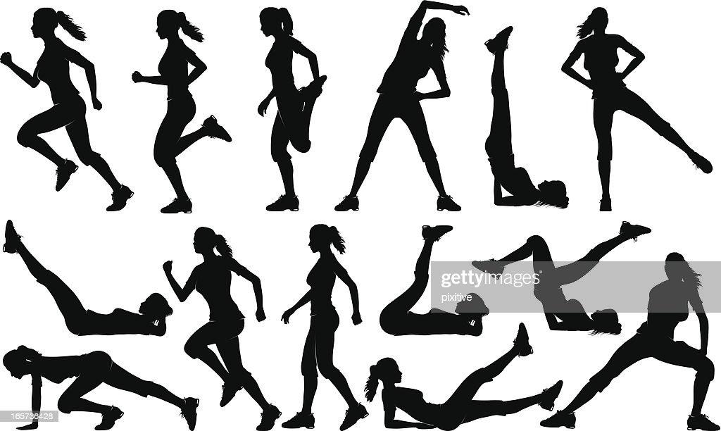 Gym Exercises Silhouettes (female)