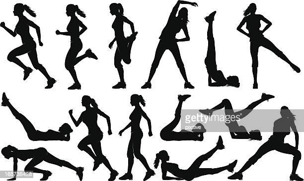 gym exercises silhouettes (female) - gymnastics stock illustrations, clip art, cartoons, & icons