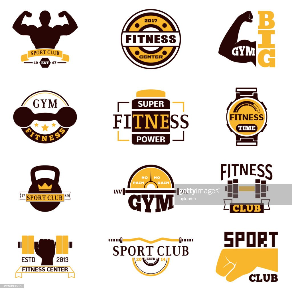 Gym Fitness Logo Vector Badge High Res Vector Graphic Getty Images