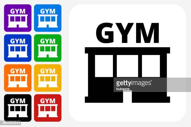 gym icon square button set - leisure facilities stock illustrations, clip art, cartoons, & icons