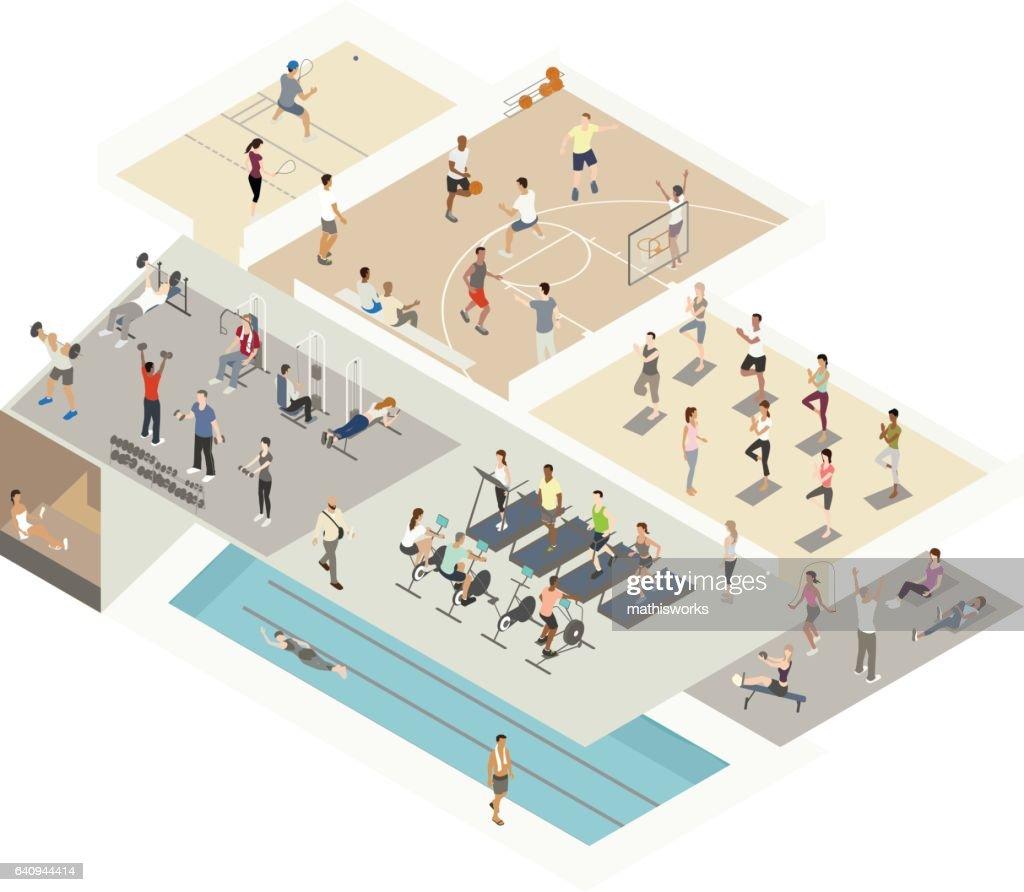 Gym Illustration Isometric Cutaway : Vector Art
