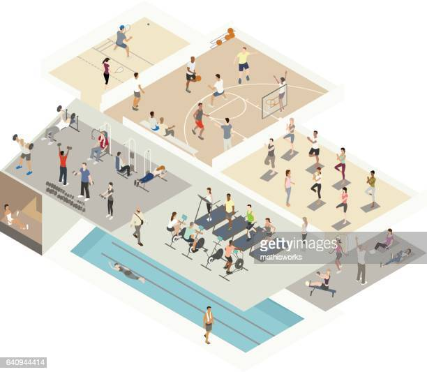 gym illustration isometric cutaway - aerobics instructor stock illustrations, clip art, cartoons, & icons
