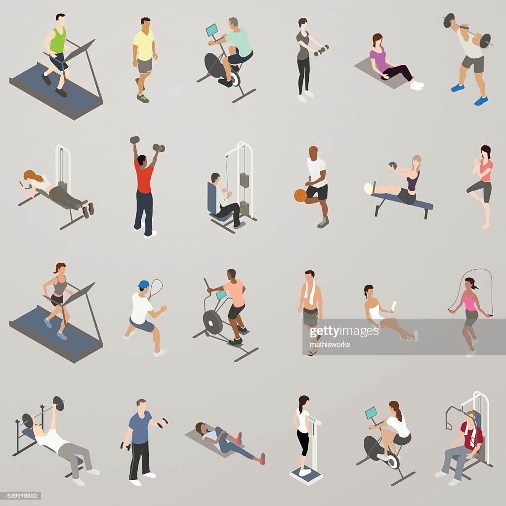 Gym People Working Out Icon Set : Vector Art