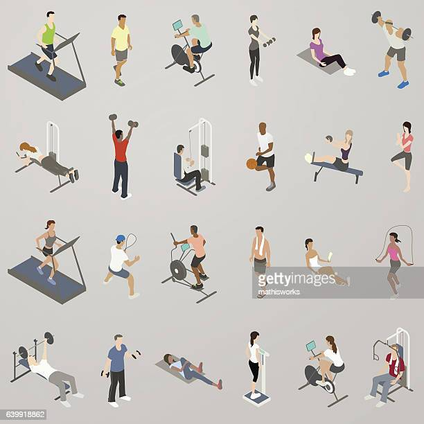gym people working out icon set - racewalking stock illustrations, clip art, cartoons, & icons