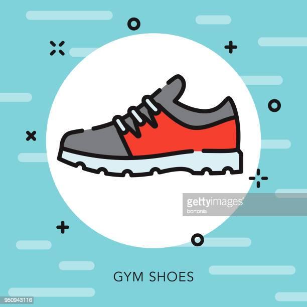 ilustraciones, imágenes clip art, dibujos animados e iconos de stock de útiles de gimnasio zapato abierto contorno escolares icono - educacion fisica