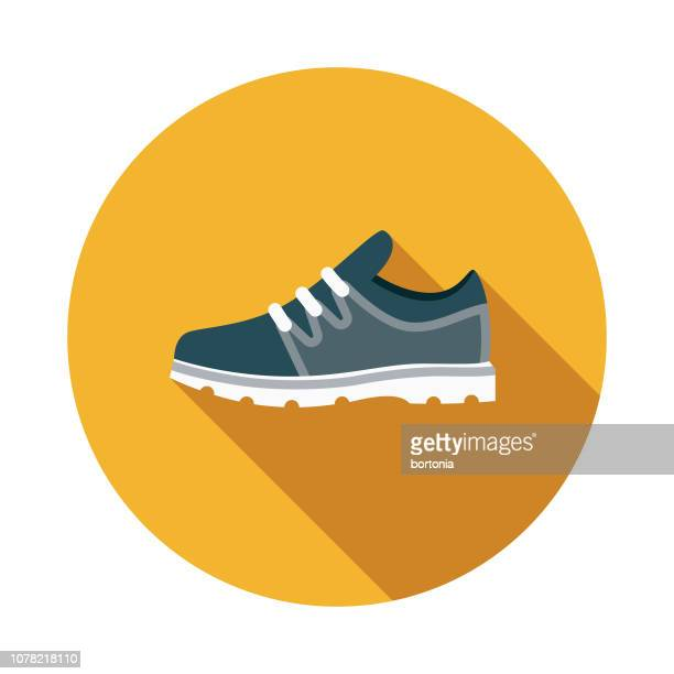 gym shoe weight loss flat design icon - sports shoe stock illustrations