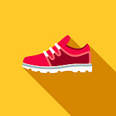 Gym Shoes Flat Design School Supplies Icon with Side Shadow
